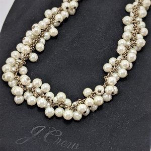 J. Crew White Faux Pearl Cluster Necklace